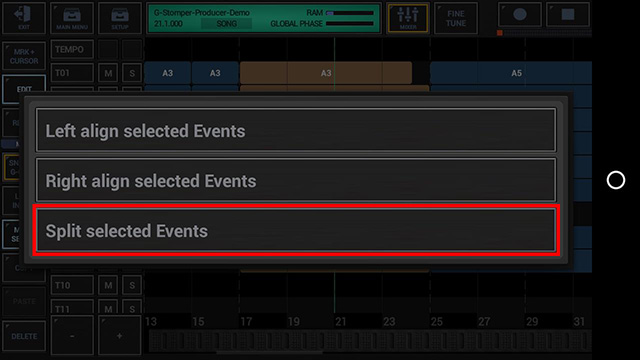 G-Stomper Producer Split Song Events - Choose Split selected Events